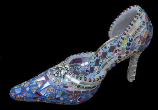 Purple Shoe. Mosaic. on display at Lori's Designer Shoes